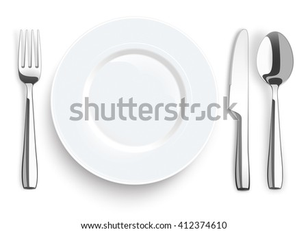 Stainless steel knife, spoon and fork with plate on the white background. Eps 10 vector file.