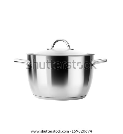 Stainless steel pot isolated on white background. Saucepan. Vector illustration. Realistic. - stock vector