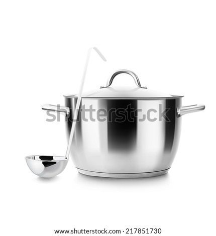 Stainless steel pot with ladle isolated on white background. Saucepan. Vector illustration. Realistic. - stock vector