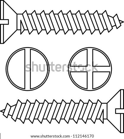 Stainless steel screw. Vector illustration. - stock vector