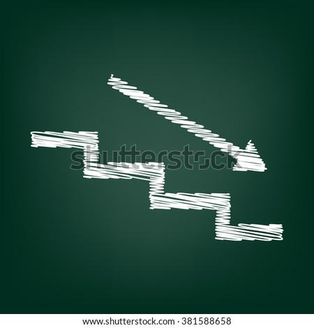 Stair down with arrow. Flat style icon with chalk effect