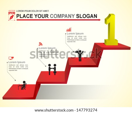 Stair step go to success. can use for business concept, brochure object. - stock vector