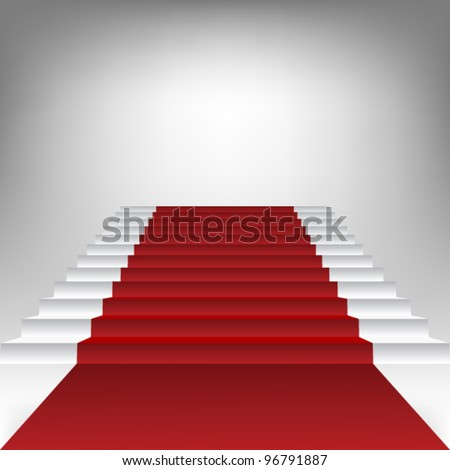 stair with red carpet - stock vector