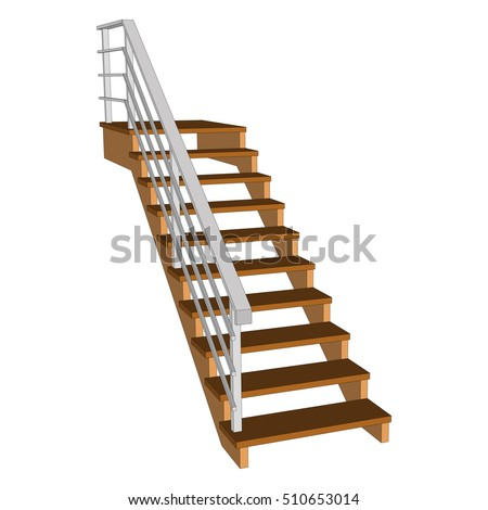 Staircase 3d  wooden with a white fence. Stair view from above. Vector illustration on a white background.