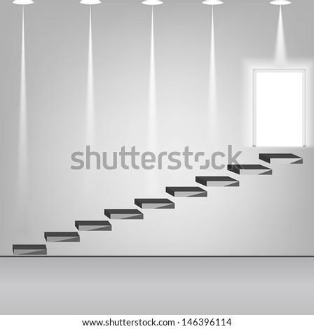 staircase design element, vector illustration - stock vector