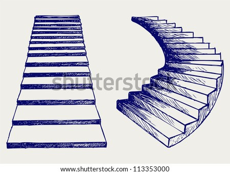 Staircase. Doodle style - stock vector