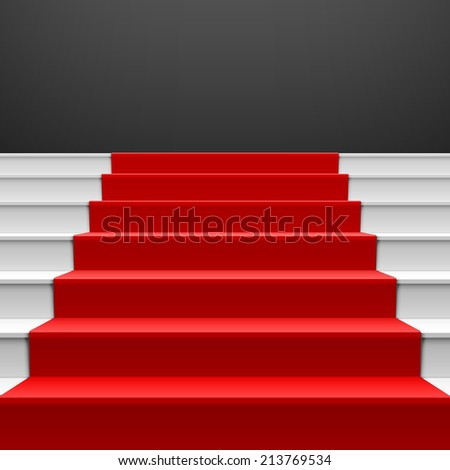 Staircase with red carpet. Vector. - stock vector