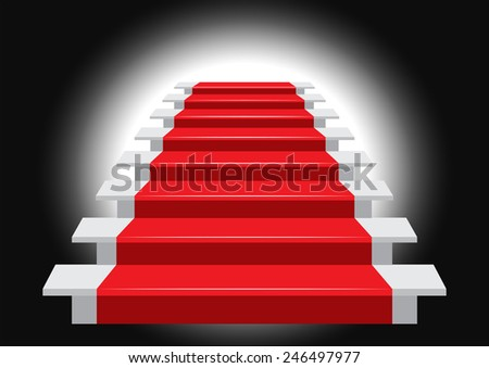Staircase with Red Carpet. Vector