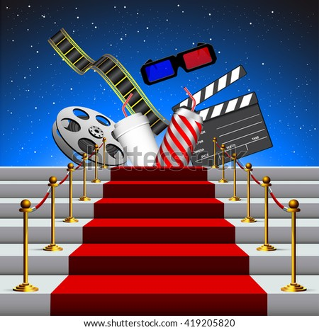 Stairs covered with red carpet with film stripe, 3d glasses, drink can and movie clapboard