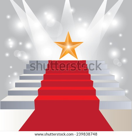 Stairs covered with red ,spotlight on stage - stock vector