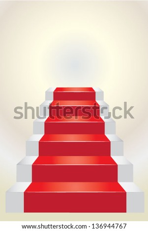 Stairs going up with red carpet over white