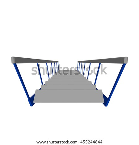 Stairs.Isolated on white background. 3d Vector illustration.Top view.