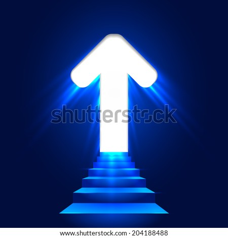 Stairs leading up with arrow. 3D image. Shining entrance. Glowing arrow on a blue background. Blue staircase. - stock vector