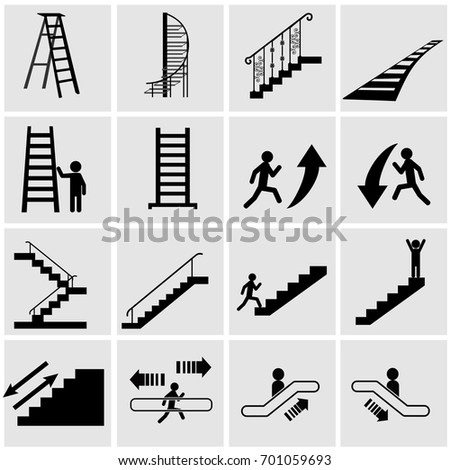 Stairs Types Straight Spiral House Subway Stock Vector 2018