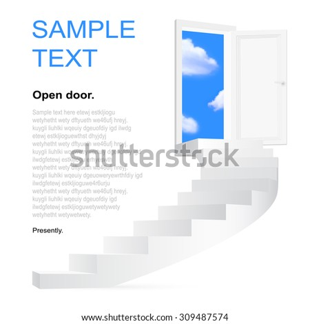 Stairway to heaven. Vector illustration with space for you text. - stock vector