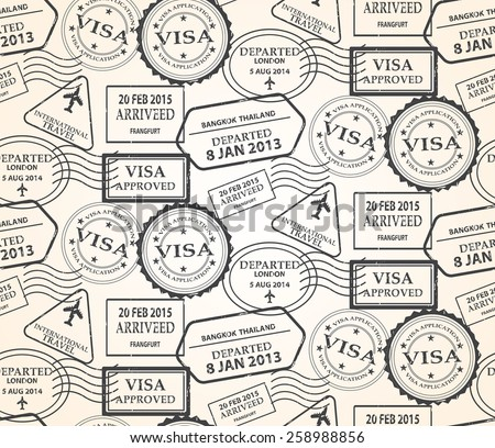 Stamp And Travel Seamless Pattern Swatches Vector Endless Texture Can Be Used