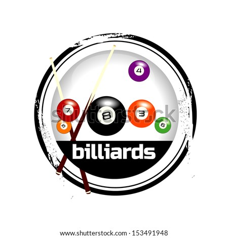 stamp billiards - stock vector