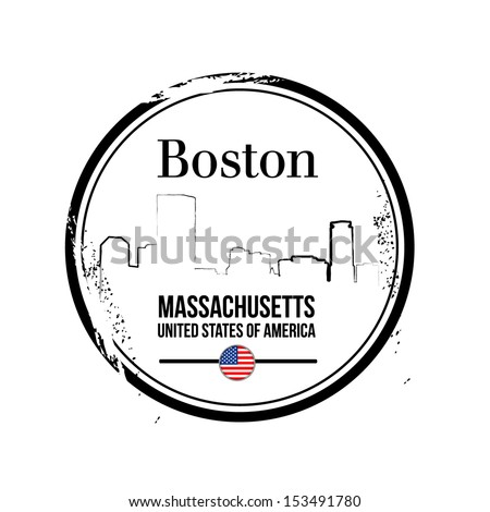 stamp Boston, capital of Massachusetts - stock vector