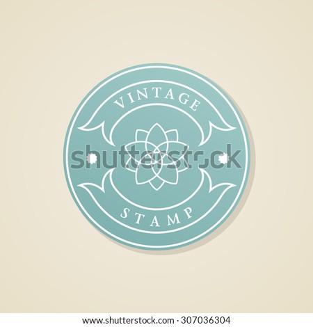 Stamp calligraphic design elements. Luxury vector frame monogram emblem. Symbol ornament icon - stock vector