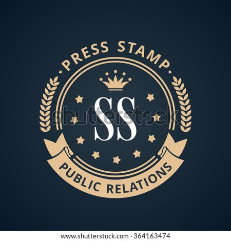 Stamp calligraphic design logo. Luxury vector frame monogram emblem. Symbol ornament line icon - stock vector