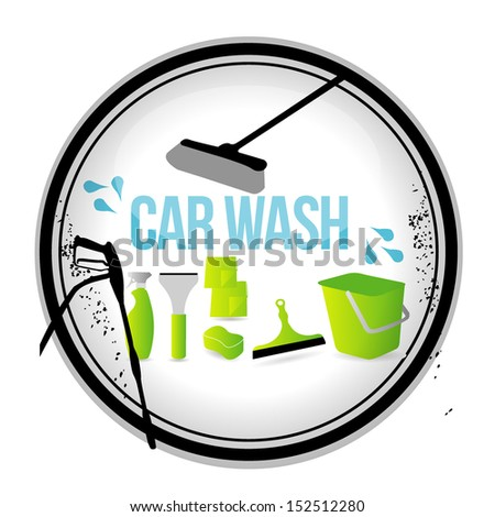 stamp car wash - stock vector