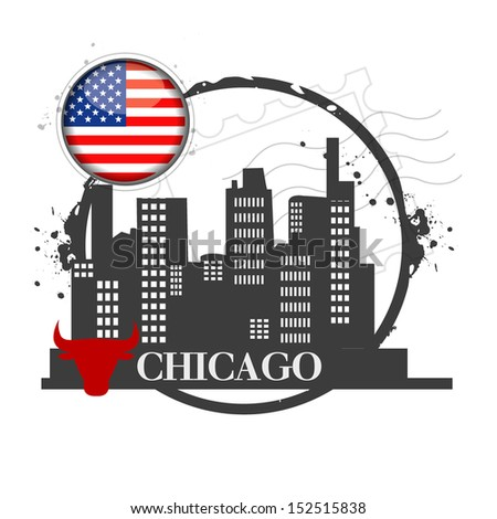 stamp Chicago, capital of Illinois - stock vector