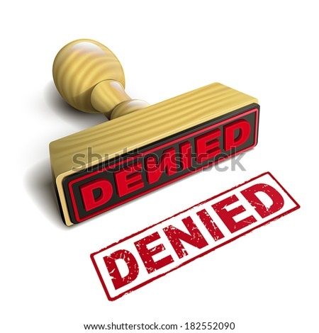 stamp denied with red text over white background - stock vector
