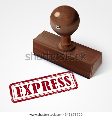 stamp express in red over white background