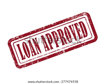 stamp loan approved in red over white background - stock vector