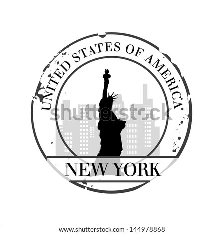 stamp New York - stock vector