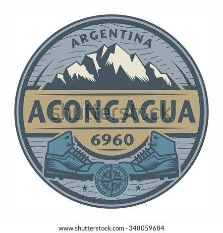 Stamp or emblem with text Aconcagua, Argentina, vector illustration - stock vector