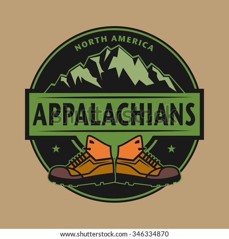 Stamp or emblem with text Appalachian Mountains, North America, vector illustration - stock vector
