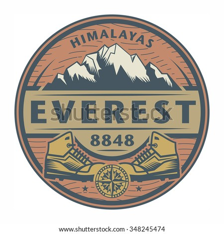 Stamp or emblem with text Everest, Himalayas, vector illustration - stock vector