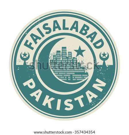 Stamp or emblem with text Faisalabad, Pakistan inside, vector illustration