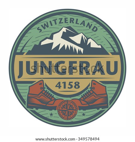 Stamp or emblem with text Jungfrau, Switzerland, vector illustration - stock vector