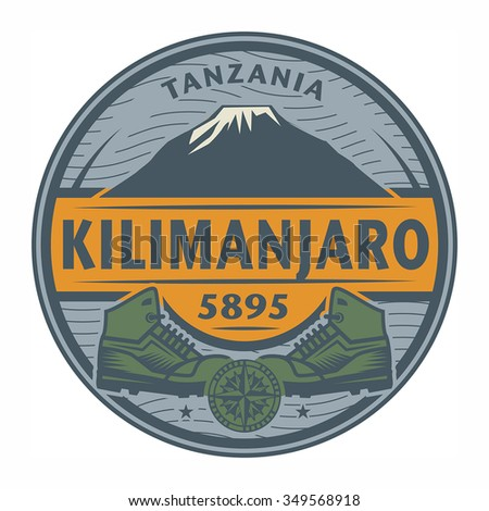 Stamp or emblem with text Kilimanjaro, Tanzania, vector illustration - stock vector