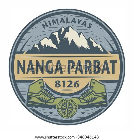 Stamp or emblem with text Nanga Parbat, Himalayas, vector illustration - stock vector