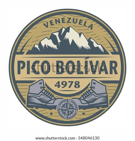 Stamp or emblem with text Pico Bolivar, Venezuela, vector illustration - stock vector