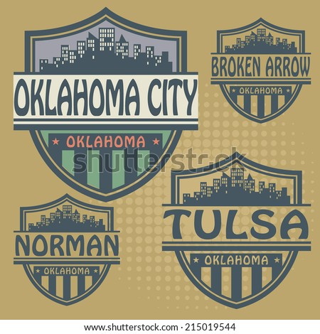 Stamp or label set with names of Oklahoma cities, vector illustration