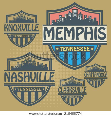 Stamp or label set with names of Tennessee cities, vector illustration - stock vector