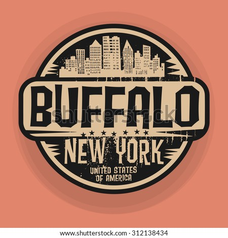 Stamp or label with name of Buffalo, New York, vector illustration - stock vector