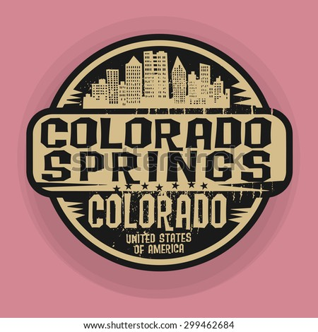 Stamp or label with name of Colorado Springs, Colorado, vector illustration  - stock vector