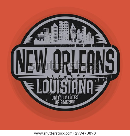 Stamp or label with name of New Orleans, Louisiana, vector illustration  - stock vector