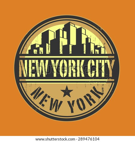 Stamp or label with name of New York City, New York, vector illustration - stock vector
