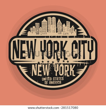 Stamp or label with name of New York, New York City, vector illustration - stock vector