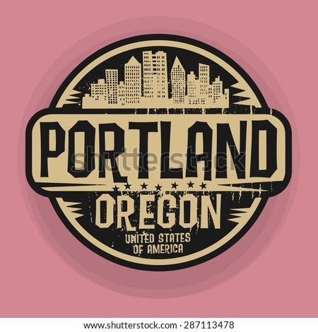 Stamp or label with name of Portland, Oregon, vector illustration - stock vector