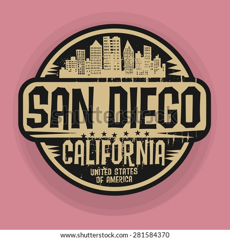 Stamp or label with name of San Diego, California, vector illustration - stock vector