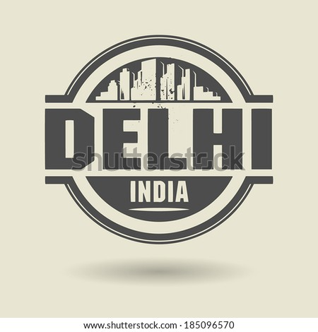 Stamp or label with text Delhi, India inside, vector illustration - stock vector