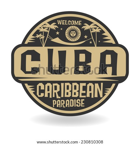 Stamp or label with the name of Cuba, vector illustration - stock vector
