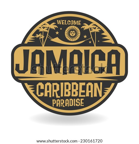 Stamp or label with the name of Jamaica, vector illustration - stock vector